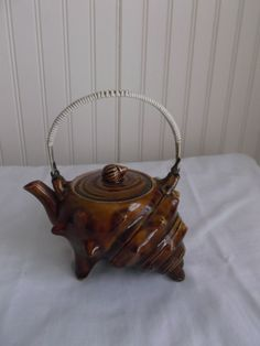 Brown Sea Shell Tea Pot Vintage Beachy Chic from saltymaggie on Ruby Lane
