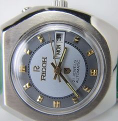 100%GENUINE VINTAGE RARE GENTS RICOH 21JEWELS AUTOMATIC DAY& DATE  WATCH 867 #RICOHAUTOMATIC21JEWELS #Dress