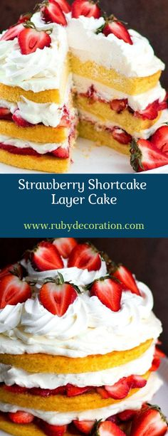 This Strawberry Shortcake Layer Cake is a feast for the eyes. Three layers of butter cake are sandwiched together with fresh sweet macerated strawberries t Strawberry Layer Cakes, Strawberry Shortcake Recipes, Strawberry Cheesecake, Cheesecake Bars, Round Cake Pans, Round Cakes, Mini Cakes, Cupcake Cakes, Cupcakes