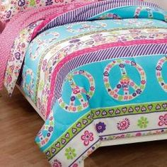 @Overstock - Brighten up your daughters bedroom with this colorful kids full-size bedding set. Help surround her with love and peace as she wakes up every morning to this gorgeous design, featuring hearts, flowers, and peace signs in pretty and vibrant colors.http://www.overstock.com/Bedding-Bath/Peace-and-Love-7-piece-Full-Size-Bed-in-a-Bag/5967126/product.html?CID=214117 $69.99