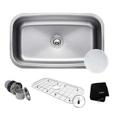 Buy the Kraus Stainless Steel Direct. Shop for the Kraus Stainless Steel Outlast MicroShield Scratch Resistant Single Basin Kitchen Sink for Undermount Installations - Basin Rack and Basket Strainer Included and save. Basin Design, Single Bowl Kitchen Sink, Kitchen Sinks, Island Kitchen, Bathroom Sinks, Kitchen Redo, Kitchen Cabinets, Undermount Sink, Sound Proofing