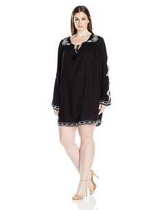 4297c476c43 Angie Women s Plus Size Embroidered Bell Sleeve Dress at Amazon Women s  Clothing store