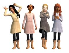 Mod The Sims - Rock That Droat - Coat-like Dresses for Little Girls