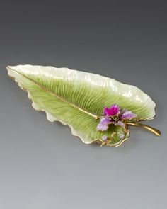 Leaf and Orchid Tray by Jay Strongwater at Neiman Marcus.