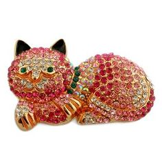 Creature Couture - Cat Brooch with Pink, White and Green Austrian Crystal in Goldtone 1254726