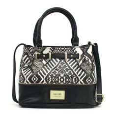 A fun tribal design and adjustable strap make this bucket bag a must-have.