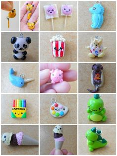 Cute clay charms x Fimo Kawaii, Polymer Clay Kawaii, Sculpey Clay, Polymer Clay Charms, Polymer Clay Projects, Polymer Clay Creations, Polymer Clay Art, Clay Crafts, Polymer Clay Jewelry