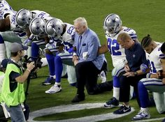 The season will go down in history as the time when the National Football League lost its years-long stranglehold on the Americans sports consciousness. With players from nearly every team in the NFL kneeling for the national anthem, the le Us Politics, Sports And Politics, Respect The Flag, Jerry Jones, Taking A Knee, American Sports, National Anthem, National Football League, Donald Trump