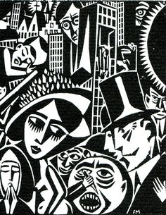 Contrast and woodcut style. Composition allows for busy frame. Wood Engraving, Art Deco, Woodblock Print, Print Pictures, Printmaking, Illustration Art, Art Prints, Drawings, Poster