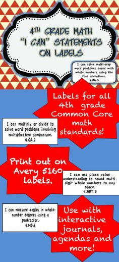 """Use these labels with your interactive math journals!  """"I can"""" 4th grade common core math statements on labels. Download the preview and you will get 2 free pages! $"""