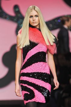 enrico-coveri-autumn-fall-wter-2012-sequins dress in black and pink