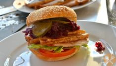 The key to this classic Danish sandwich is roast pork with the skin still on and cooked until crisp. Pork Loin, Pork Roast, Roast Pork Sandwich, Braised Red Cabbage, Heritage Recipe, Mustard Pickles, Wrap Sandwiches, Burger Recipes, Hamburger