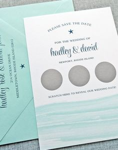 A scratch off save the date? Such a fun and original idea! Simply scratch to reveal the wedding date!
