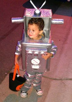 "DIY Homemade Halloween Costumes for Kids at BetterBudeting: ""I Am A Robot"" made with cardboard boxes and duct tape! (First Place Winner!)"