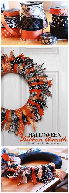 halloween wreath, DIY and Crafts, EASY and FUN DIY Halloween Ribbon Wreath Craft Project - Easy Step by Step Holiday Home Decoration Tutorial. Diy Halloween Ribbon Wreath, Wreath Crafts, Diy Halloween Decorations, Ribbon Wreaths, Christmas Ribbon, Fall Ribbon Wreath, Diy Ribbon, Fall Wreaths, Tree Crafts