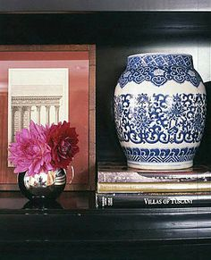 blue and white porcelain, silver, books, tablescape -- Braborne Farms doesn't give source --