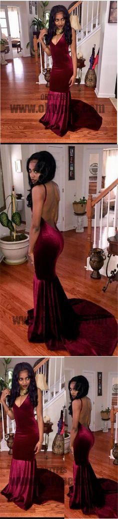 Claret Long Mermaid Prom Dresses, Spaghetti Strap Prom Dresses, Backless Prom Dresses, Sexy Evening Dresses, TYP0266 #promdresses