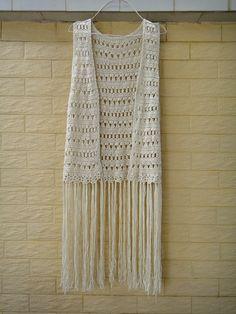 Hippie crochet vest fringe beach cover up music festival top etsy. Crochet Jacket, Crochet Cardigan, Unique Crochet, Free Crochet, Hippie Crochet, Crotchet Patterns, Baby Afghan Crochet, Festival Tops, Crochet Crop Top