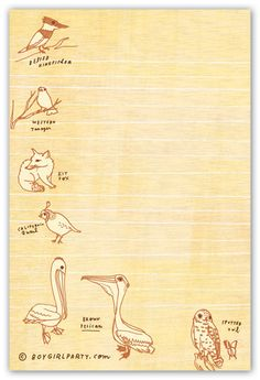 Drawings of animals at the Natural History Museum decorate this simple notepad. 50 pages, full color, illustrated by Susie Ghahremani / boygirlparty.com
