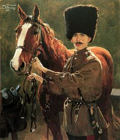 """Portrait of Yesaul Kostrykin with his horse """"Biplan"""" by Dmitri Belyukin, 1997. Yesaul is a post and a rank in Cossack hosts, major in Army."""