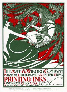 VINTAGE BLOG: Will Bradley : Ault & Wiborg Poster 1895