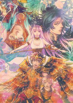 Athena, Poseidon, Aioros, Mu e Hades