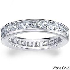 14k White or Yellow Gold 3ct TDW Machine-set Princess Eternity Diamond Wedding Band (H-I/SI1-SI2) (