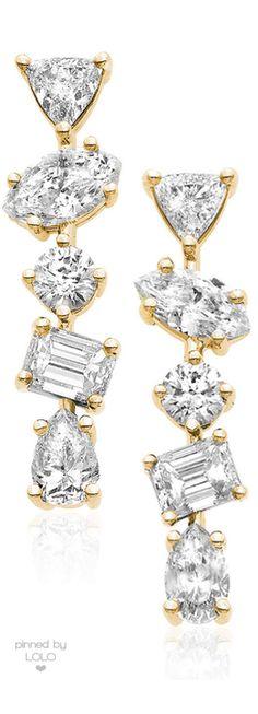 Kimberly McDonald 18K Gold Mixed Diamond Bar Earrings | LOLO❤︎