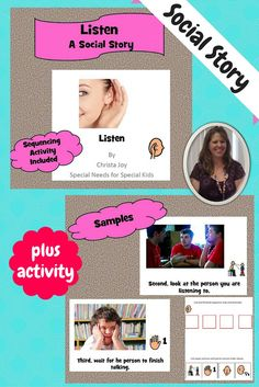 Being a good listener is such an important skill, yet so difficult to teach. This is a simple social story that first, reminds students how important it is to be a good listener, and second, some simple steps for students to follow to help them become better listeners.  Great sequencing activity included.  Download at:  https://www.teacherspayteachers.com/Product/Being-a-Good-Listener-Social-Story-1479124