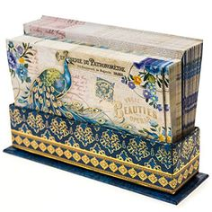 Send thoughtful notes in elegant fashion with Peacock Notecards. The cards feature a french-inspired design with a beautiful peacock illustration and gold accents, and matching envelopes.