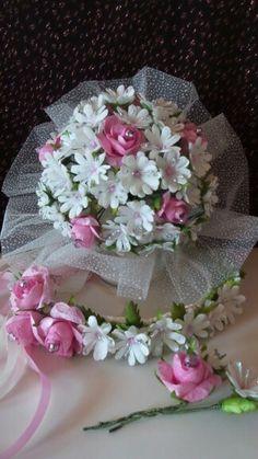 Gelin buketi,tacı ve yaka çiçeği  (gerçekten  ipek  kozasından  yapıldı )