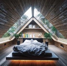 Zimmereinrichtung - If we have a loft, this is a pretty cool design. We'd also have to take into. Attic Inspiration, Design Inspiration, Design Ideas, Interior Inspiration, Lakefront Property, A Frame House, Cozy Room, Roof Design, Cabin Design