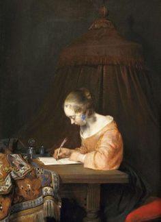 Pinturas de Gerard ter Borch,  Mujer escribiendo una carta