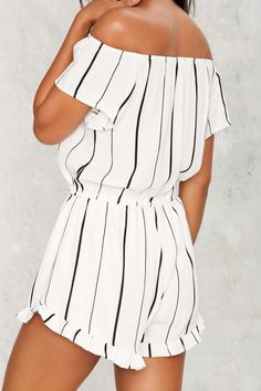 Somewhere Fast Off-the-Shoulder Romper - Clothes   Rompers + Jumpsuits   Stripes