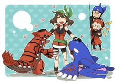 Groudon, May, Kyogre. Look at Archie and Maxie in the background XD