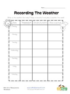 Graphic organizers are a more pictorial way of organizing information. We have a variety of themed graphic organizers will help kids organize their thoughts around a variety of topics. Weather Worksheets, Sequencing Worksheets, Spelling Worksheets, 2nd Grade Worksheets, Science Worksheets, Writing Worksheets, Worksheets For Kids, Earth Weather, Weather And Climate