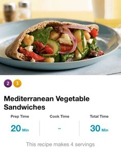 "Mediterranean Veggie Pitas: 1/2 sliced red onion, 1 can chickpeas, 1/2c baby spinach, 3oz feta cheese, 1 sliced cucumber & tomato, 2 cut sweet roasted red peppers, 1tbsp olive oil, 1/2tsp red wine vinegar, 1 pinch cumin, cayenne pepper, 2 6"" 1/2ed whole-wheat pitas. Onion in bowl, cover w/ice water, sit 10 mins, drain, pat dry, in bowl. +all ingreds, comb. Cayenne to taste. Fill pita 1/2s w/veggie mix & serve. Serv size = 1/2 pita. 290cal, 44g carbs, 8g fiber."