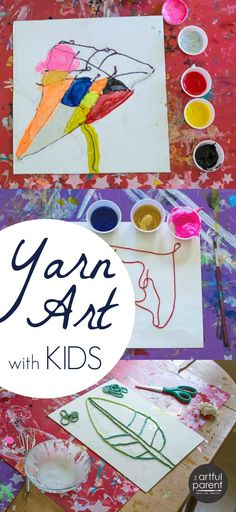 """What a fun idea for kids! Combine yarn art with painting. Would work with abstract or realistic art, or even """"scribble drawings."""""""