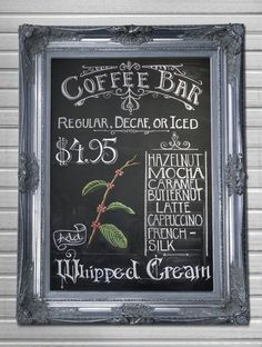 "Parisian Art Nouveau Cafe Original Chalk Art Wall Hanging ""Coffee Bar"" Bistro/Kitchen/Country/Shabby Chic.  via Etsy.:"
