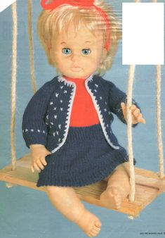 Wrap up for Winter, pattern for First Love Doll, from Woman's Value, May Doll Patterns, Clothing Patterns, Print Patterns, Knitting Patterns, Doll Outfits, No One Loves Me, Vintage Dolls, Larger, Doll Clothes