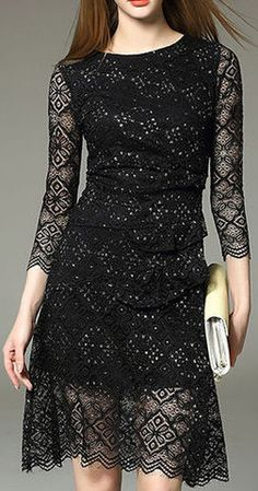 Silver-Wire Black Lace Dress