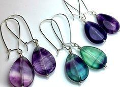 Rainbow Fluorite Earrings Sterling Silver Dangle Earrings