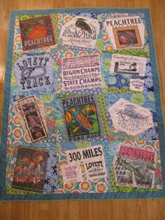 My T-shirt quilt from races that I did with my Dad, in Cross Country, and post college.  Love!
