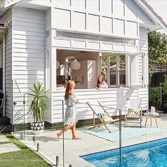 What a scorcher 🌞 today has been Melbourne! Already getting good use out of our pool 🏊🏻‍♀️ 🏊‍♂️ Outdoor Spaces, Outdoor Living, Weatherboard House, Queenslander, Living Pool, Pool Cabana, Home Reno, Pool Houses, My Dream Home