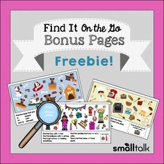 FREE Find It on the Go for Language products are a collections of engaging seasonal search and find picture scenes that were designed to work on almost any language goal. Kids love the search-and-find activities and you'll love how easy and flexible they are to use.This freebie includes 3 picture scenes for you to try if you are new to this series.
