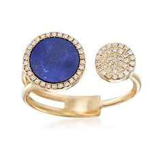 Ross-Simons - Lapis and .18 ct. t.w. Diamond Ring in 14kt Yellow Gold - #866293