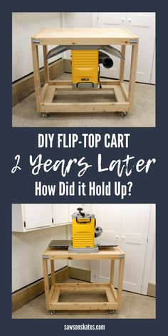 A DIY Flip-Top Tool Cart is a great space-saver for a small workshop. Tools like a planer, miter saw, sander or router, etc. can be mounted on one side then flip the top to reveal a workbench. Most flip top tool stands are made with plywood, but this one is made with 2x4s. Let's check in see how it held up over the past two years. #workshop #smallworkshop #woodworkingtips