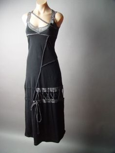 Black Apocapunk Hacker Futuristic Cyber Punk Neo Matrix Long Maxi fp Dress - Runs small. Thin Fabric. Plan accordingly.