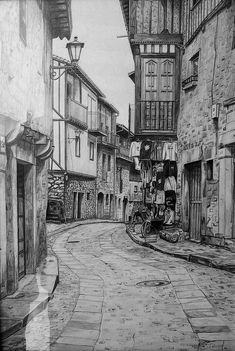 Street of La Alberca Urban Architectural Pencil Drawings Click the image to see more of Daniel Formigo s work # City Drawing, Drawing Sketches, Painting & Drawing, Art Drawings, Drawings Of Buildings, Pencil Drawing Images, Funny Drawings, Drawing Poses, Pencil Art