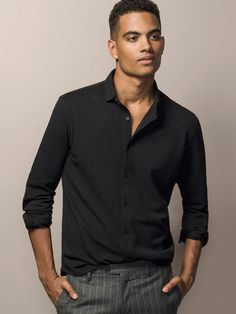 BLACK SHIRT WITH ELBOW PATCHES - MASSIMO DUTTI -
